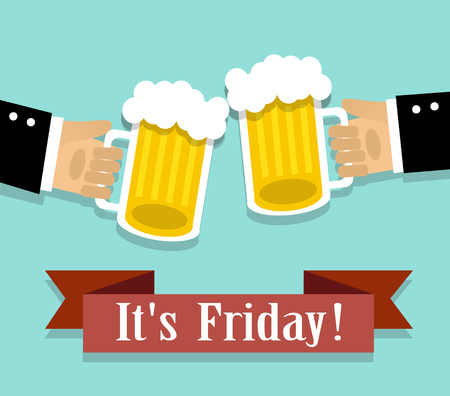 clink: two hands holding a glass of beer with foam. The ribbon with the words Friday