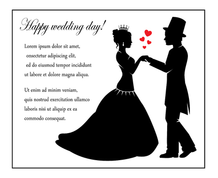 wedding dress back: Retro Silhouettes of the bride and groom and a place for text Illustration