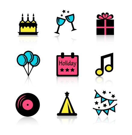 commemorating: Set beautiful icons commemorating festive and fun