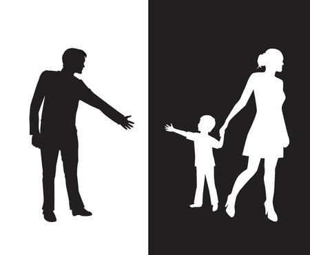 domestic violence: silhouette of a man reaching to his young child, but the mother removes the child to the other side and is separated from the father.Dad and mom with a baby on different backgrounds