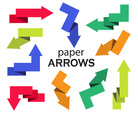 alfa: Set of colorful paper arrows on white background