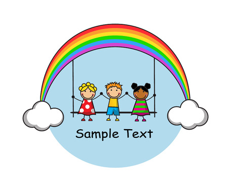 girl illustration: funny kids are sitting on a swing, a swing hanging on rainbow and clouds