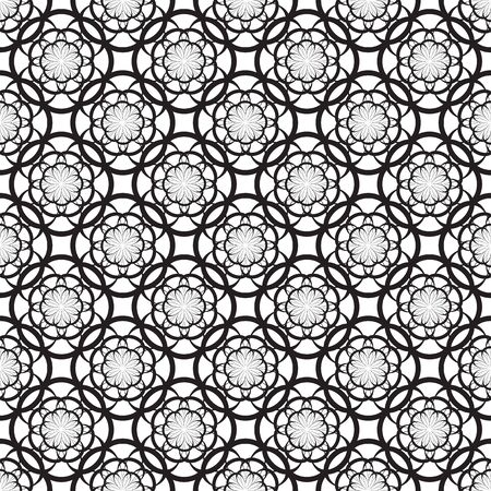 alfa: Floral seamless pattern with thin black flowers on a white background Illustration