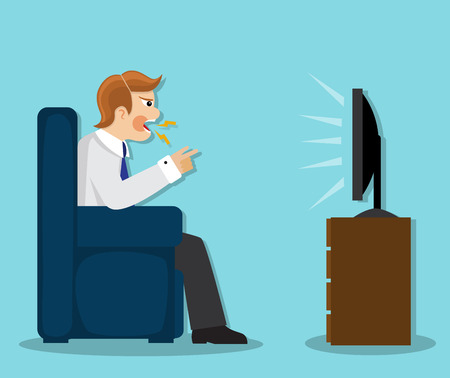 cursing: aggressive man sitting in a chair, cursing and watching TV Illustration