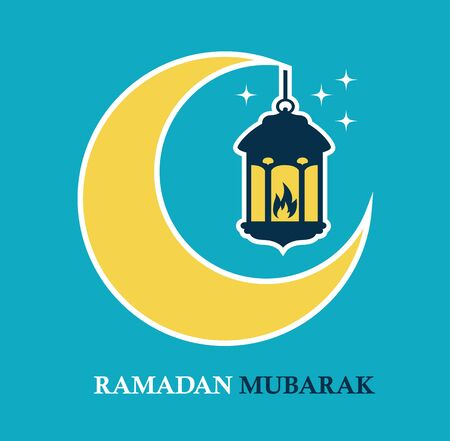 crescent: Yellow crescent and a hanging lamp. An Islamic Ramadan
