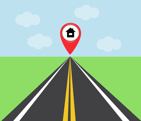 arranging: the road at the end of which the red sign indicates the location of the house Illustration