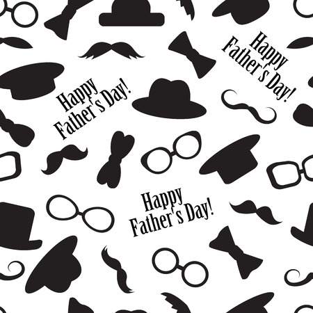 sunglasses cartoon: Seamless black-and-white pattern to the fathers day