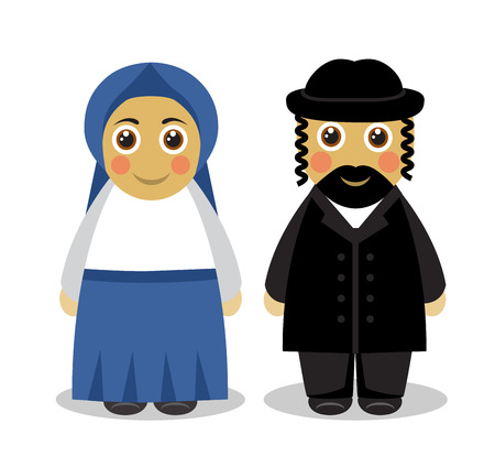 jews: Cartoon cute husband and wife Jews in traditional dress on a white background