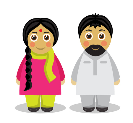 national: husband and wife in the national costumes of India Illustration
