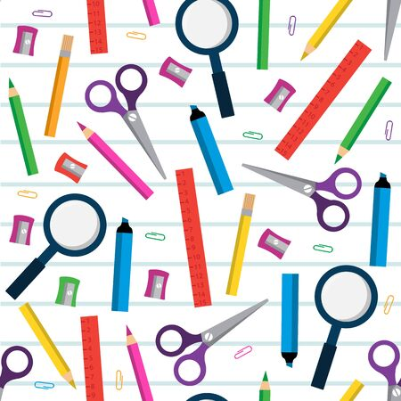 stationery items: Seamless square pattern with stationery items on the background of a sheet of paper