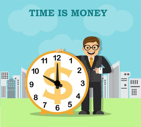 businessman and a large clock on the background of the city Illustration