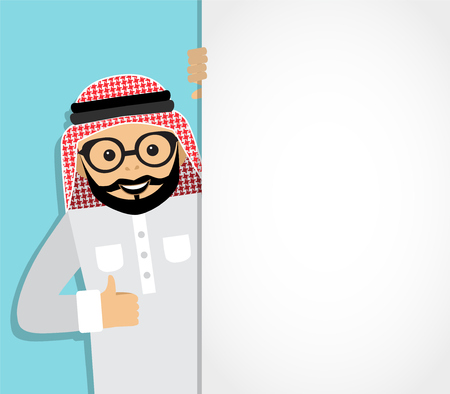 middle east: arab businessman looks out from behind a white background and shows an unfilled hand