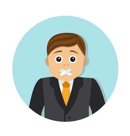 wounded: Businessman with mouth sealed want to say something Illustration