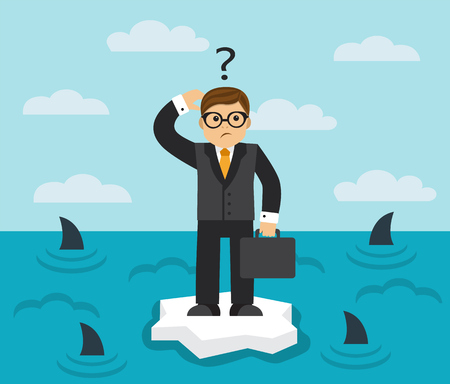 floe: businessman with briefcase standing on an ice floe in the middle of the sea in which the fins of sharks seen