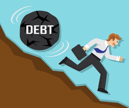 emotional pain: businessman running fast from the mountain, but for businessman rolling a big stone with the word debt