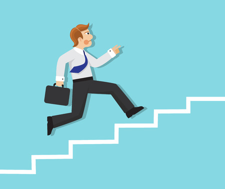 businessman with briefcase running up the stairs