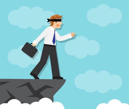 zakenman geblinddoekt gaat naar de rand en niet het gevaar te voelen