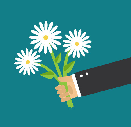 daisy: Hand holding a bouquet of white daisies Illustration