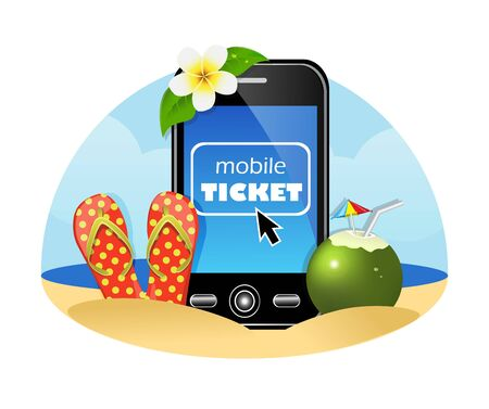 mobile phone, flip-flops and the coconut on a background of sea and sky peska.Na phone screen cursor position