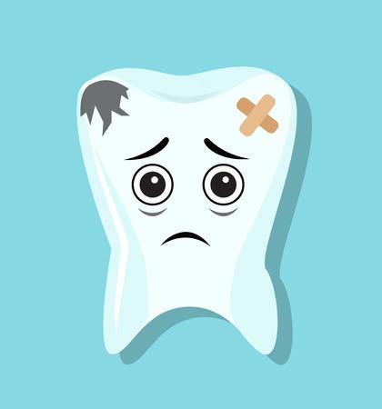 sick sad blackened teeth sealed with adhesive tape Illustration