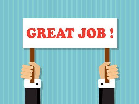 Handen die een teken met een goed werkaanbod houden Vector Illustratie