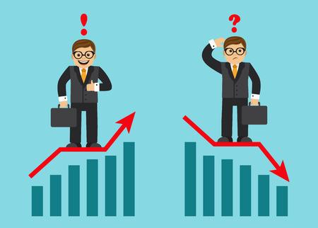 graficar crecimiento de las ventas y exitoso hombre de negocios feliz con un signo de exclamación. El horario de la caída de ingresos y triste hombre de negocios con un signo de interrogación Ilustración de vector