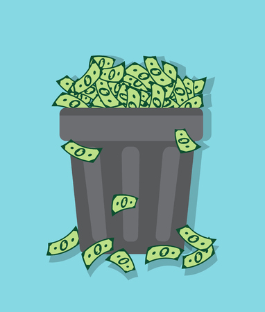 wastepaper basket: wastebasket filled with packs of dollars on a blue background