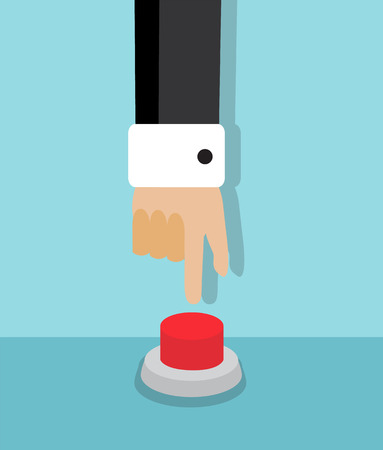 panic button: human hand reaching to press the red button Illustration