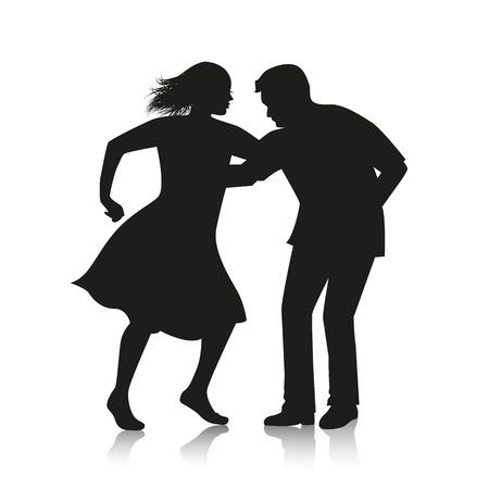 latino dance: silhouette of couple dancing Latino dance salsa Illustration