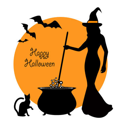 beautiful witch prevents potion in a cauldron. Sitting next to a witch and black cat flying bats Illustration