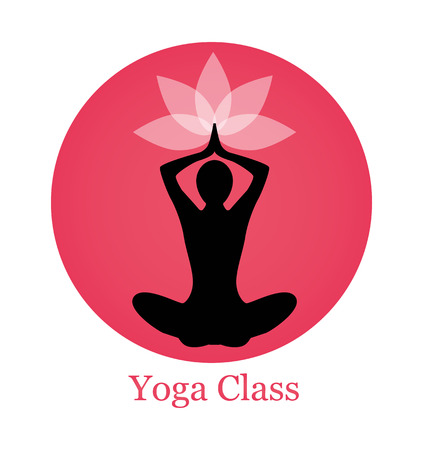 female pink: female silhouette yoga. Above her head, a lotus flower. Silhouette sits on a background of pink circle