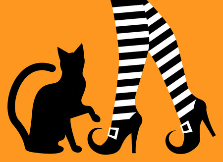 buckles: witch legs in striped stockings and shoes with buckles and a silhouette of a black cat on an orange background