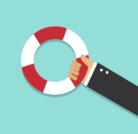 hand in business suit holding a life preserver on a light background
