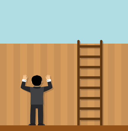 ladder  fence: man standing face to the wall and does not see that standing next to the ladder, and you can solve the problem