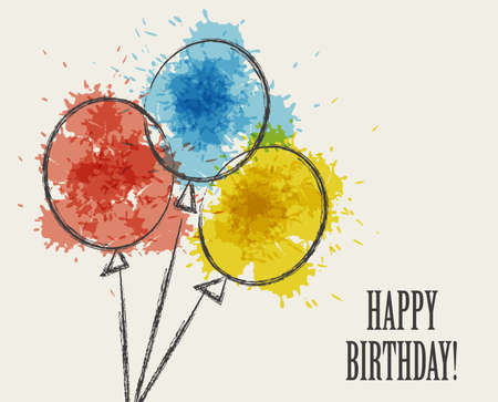 Card with colored watercolor paint balloons. Vector isolated illustration Illustration