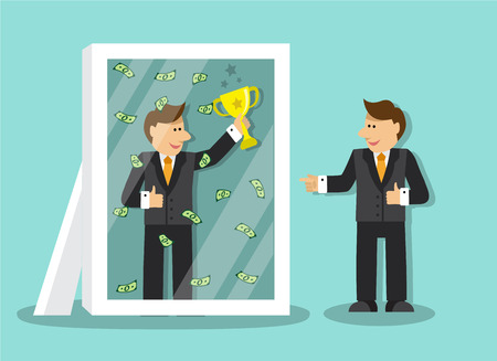 himself: businessman looks at himself in the mirror and sees that it is a success and a lot of money and holding a gold cup Illustration