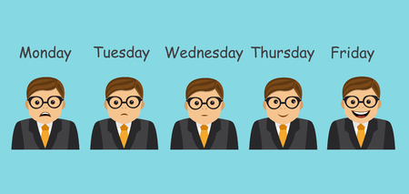 depend: businessman and different emotions change and depend on the day of the week Illustration