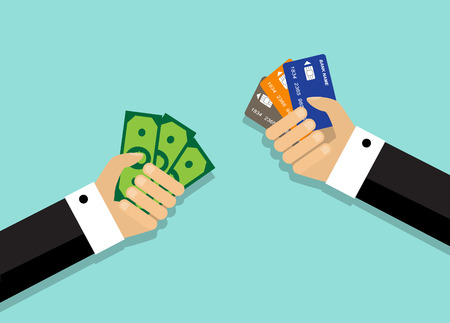 alfa: Two arms. One hand holds a credit card, while the other hand holds money