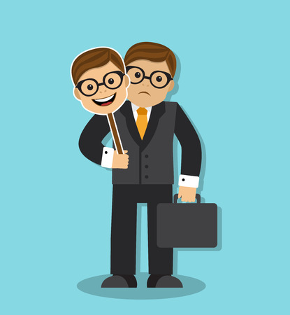 two faced: sad businessman holding a mask of cheerful and friendly person