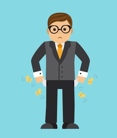 alfa: Sad businessman sitting by removing empty pockets