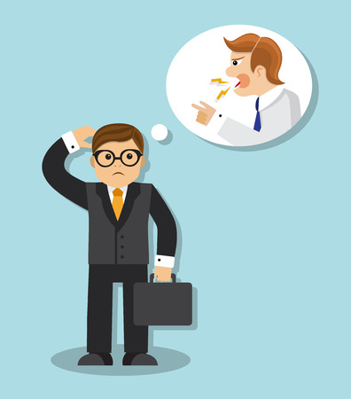 sad businessman is afraid and thinks the chief is angry Vector Illustration