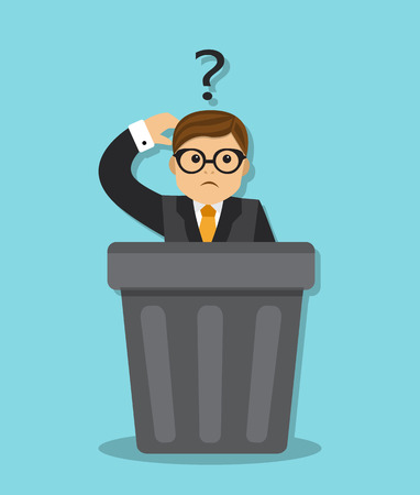 wastepaper basket: sad businessman sitting in a garbage can, and think why he was fired