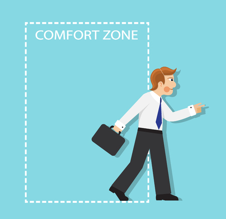 self assurance: businessman resolutely out of the comfort zone