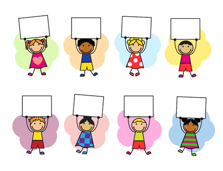 children studying: Cartoon kids in bright clothes with placards in their hands Illustration
