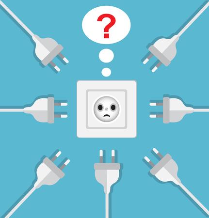 Tapones de salida eléctrica y muchos se sienten atraídos hacia la salida. Rosette no sabe qué elegir. La ilustración del concepto