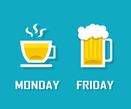 alfa: cup of coffee or tea on Monday and a mug of beer on Friday Illustration