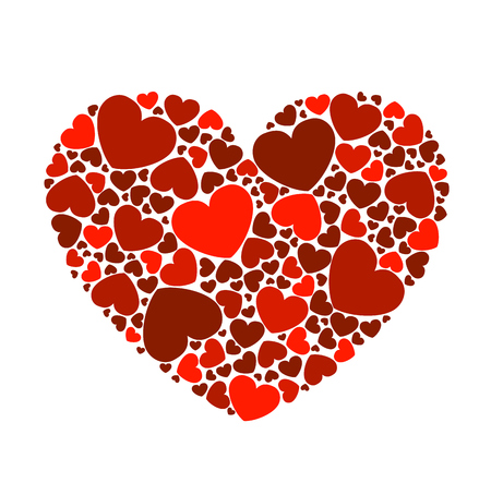 alfa: The heart consists of red hearts of various sizes on a white background.Vector illustration of Valentines Day Illustration