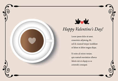 frothy: cup of coffee and heart on a light background with space for text. Card for Valentines Day with patterned edges