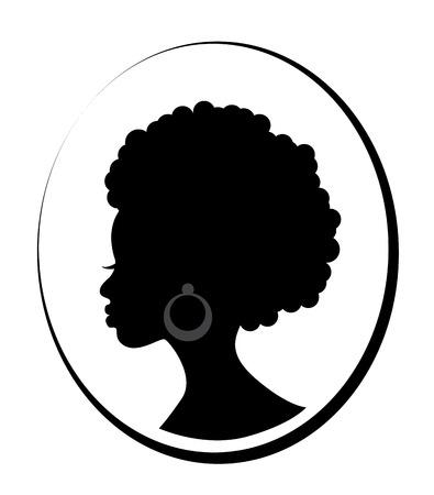 Testa di profilo di una bella donna nera africana su sfondo bianco In una cornice sottile Vettoriali