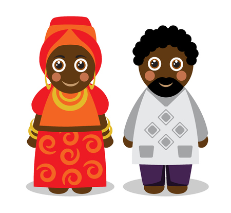 period costume: Cute katun black African couple man and woman in bright national clothes